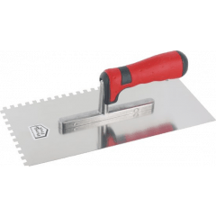 Glättekelle, gezahnt - Edelstahl 0,4mm, 130x280mm